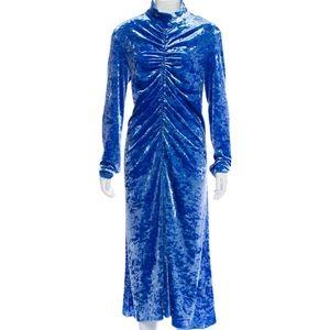 Ruched Velvet Long-Sleeve Midi Dress